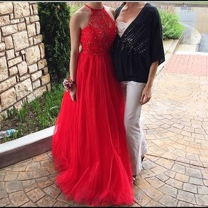 Camille la vie Red Prom Dress Open Back